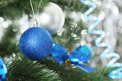 Christmas baubles on christmas tree, close up Stock Images
