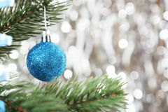 Christmas baubles on christmas tree, close up Royalty Free Stock Photos