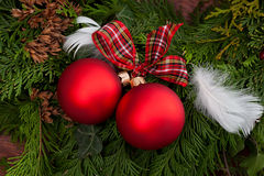 Christmas baubles on a christmas tree Royalty Free Stock Photos