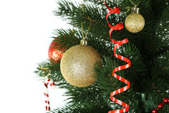Christmas baubles on christmas tree on white Royalty Free Stock Photography