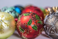 Christmas Baubles. Close Up Royalty Free Stock Photos