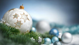 Christmas baubles closeup with copy space Stock Photography