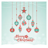 Christmas baubles composing a tree. Vintage Christmas baubles composing a tree, Xmas wishes card Royalty Free Stock Images
