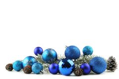 Christmas baubles with cones. Isolated on white background Royalty Free Stock Photos