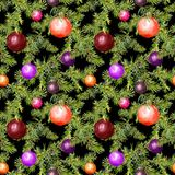 Christmas baubles, conifer branches. Repeating pattern for christmas design. Watercolor. Christmas baubles and conifer branches. Repeating pattern for christmas Stock Images