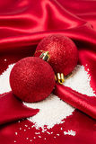Christmas baubles decorating with sugar as snow. Stock Photography