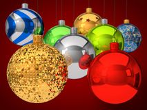Christmas baubles with depth of field effect. Royalty Free Stock Photography