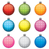Christmas baubles, different colors and patterns, Stock Photography