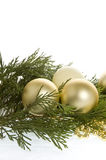 Christmas baubles and evergree stock photography