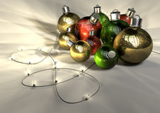 Christmas Baubles And Fairy Lights Stock Photo