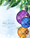 Christmas baubles with fir branches Stock Photos