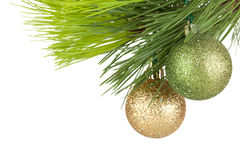 Christmas baubles on firtree Stock Photos