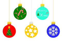 Christmas baubles. Five different Xmas baubles for your concepts Royalty Free Stock Photo