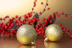 Christmas baubles and garland royalty free stock images