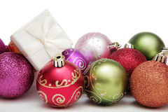 Christmas Baubles and Gift Royalty Free Stock Image