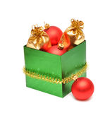 Christmas baubles in gift box Stock Photos