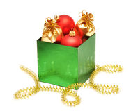 Christmas baubles in gift box Royalty Free Stock Photography