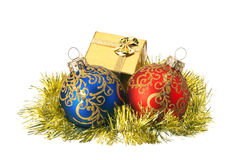Christmas baubles and gift box Stock Photo