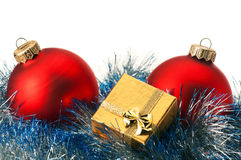 Christmas baubles and gift box Stock Image