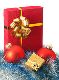 Christmas baubles and gift box Royalty Free Stock Photo