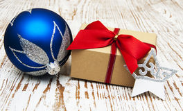 Christmas baubles  with  gift box Royalty Free Stock Photography