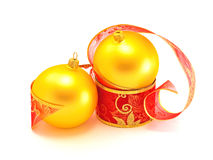Christmas baubles with gift ribbon Royalty Free Stock Image