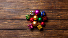 Christmas baubles and gifts Royalty Free Stock Photo