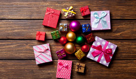 Christmas baubles and gifts Royalty Free Stock Image