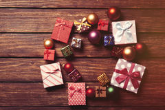 Christmas baubles and gifts Royalty Free Stock Photos