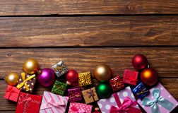 Christmas baubles and gifts Royalty Free Stock Images