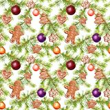 Christmas baubles, ginger bread, conifer tree branches. Seamless pattern for christmas design. Watercolor stock illustration