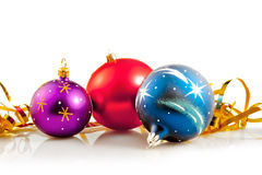 Christmas Baubles & Gold Ribbons Stock Photo