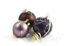 Christmas Baubles & Gold Ribbons Royalty Free Stock Photography