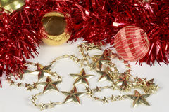 Christmas baubles and golden stars Royalty Free Stock Photo