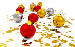 Christmas baubles and golden stars. On white background Royalty Free Stock Photography