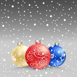 Christmas baubles gray bk Royalty Free Stock Images