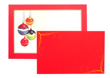 Christmas baubles greetings card Stock Photo