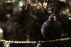 Christmas baubles. Hanging from a tree Royalty Free Stock Photos