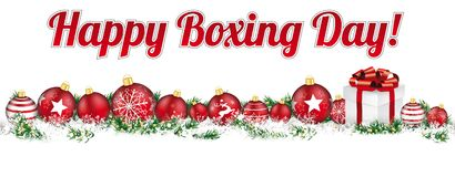 Christmas Baubles Headline Banner Gift Happy Boxing Day Stock Images