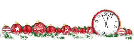 Christmas Baubles Headline Snow Banner Clock 2017. Red christmas baubles with clock and date 2017 and twigs on the white background Royalty Free Stock Images