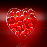 Christmas baubles heart shape in red and gold Royalty Free Stock Photography