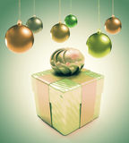 Christmas baubles and hearts with gift box Stock Image