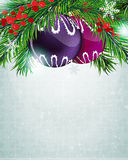 Christmas baubles with holly berry Royalty Free Stock Images