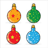 Christmas baubles illustration. Illustration of four colorful Christmas baubles Royalty Free Stock Photos