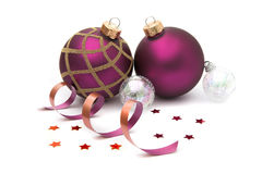 Christmas baubles isolated Royalty Free Stock Images