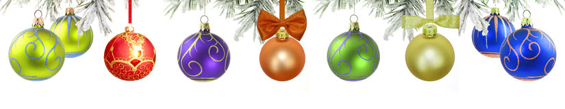 Christmas baubles isolated banner stock photo