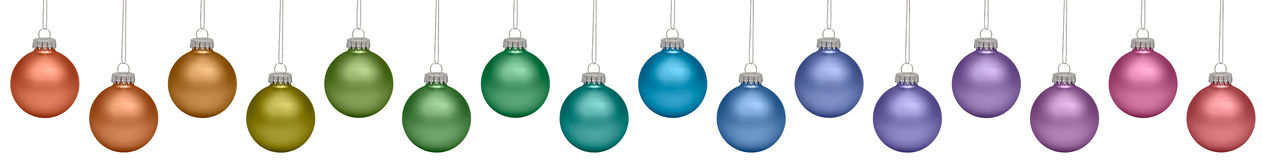 Christmas baubles isolated on white. Background stock images