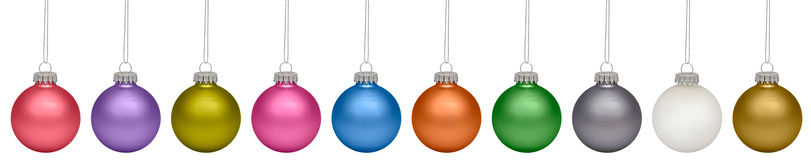 Christmas baubles isolated on white. Background Stock Photo