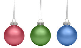 Christmas baubles isolated on white background Stock Photography