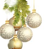 Christmas baubles isolated on white Royalty Free Stock Images